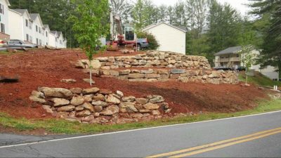 Stone-stacked Retaining Walls
